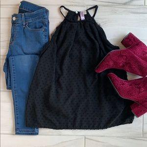 Francesca's Alya black blouse